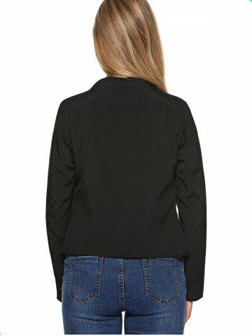 Outfit Stand Collar Plain Slimming Blazer - M BLACK Mobile