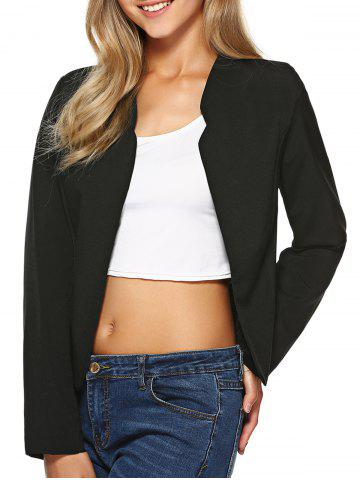 New Stand Collar Plain Slimming Blazer BLACK M