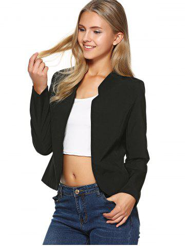 Outfit Stand Collar Plain Slimming Blazer - S BLACK Mobile