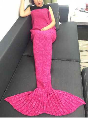 Outfit Warmth Crochet Knitted Mermaid Tail Blanket ROSE RED W31.50INCH*L70.70INCH