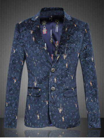 Graphic Single-Breasted Flap Pocket Blazer - Deep Blue - M