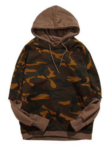 Unique Camouflage Pattern Long Sleeve Faux Twinset Hoodie