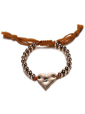 Fashion Ethnic Woven Bead Heart Bracelet COFFEE AND GOLDEN