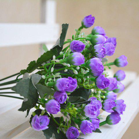 Online 15 Heads Rose Bud Bouquet Home Decor Artificial Flower LIGHT PURPLE