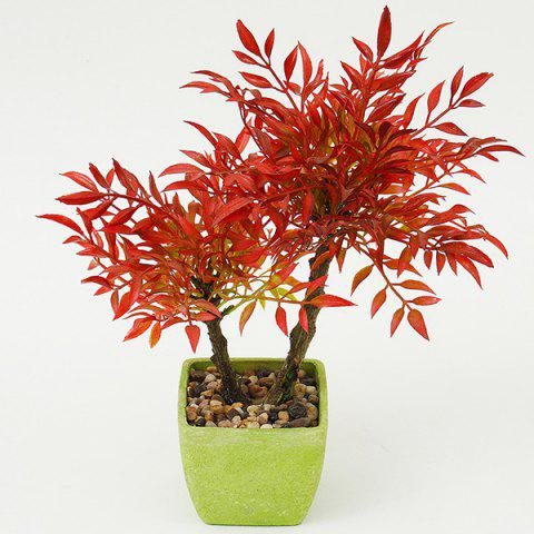 Bureau Verdure Décoration Fleur artificielle Bonsai Rouge