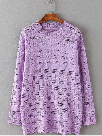 Chic Openwork Textured Cable Knitwear LIGHT PURPLE 5XL