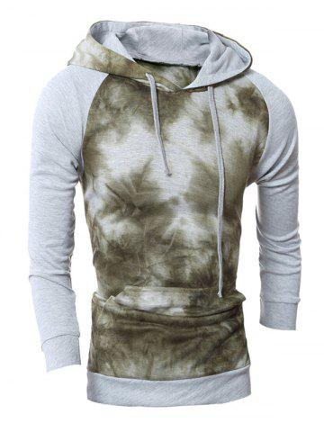 Latest Raglan Sleeve Tie-Dyed Pullover Hoodie LIGHT GRAY 2XL