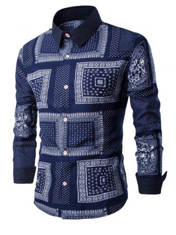 Affordable Slim Long Sleeve Retro Printed Shirt