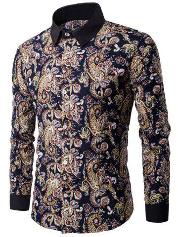 Latest Contrast Collar Long Sleeve Paisley Printed Shirt COLORMIX 3XL