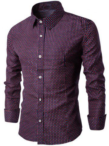 Affordable Long Sleeve Small Geometric Printed Shirt