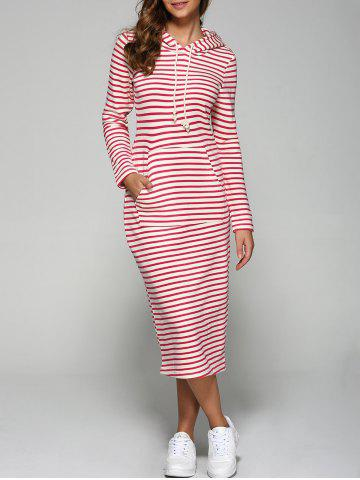 Outfits Hooded Striped Pocket Design Dress RED L