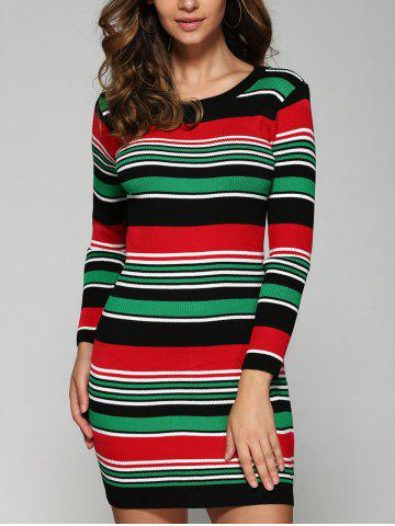 Unique Stretchy Multicolor Striped Slim Dress