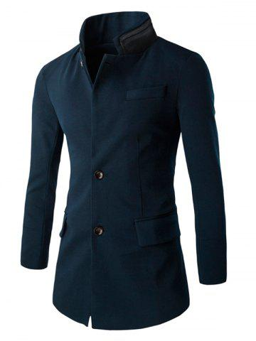 Outfit Slim-Fit Double Collar Flap Pocket Coat CADETBLUE 2XL