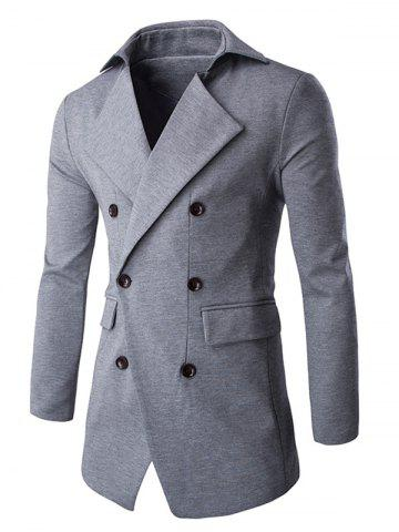New Slim Double Breasted Notched Collar Coat