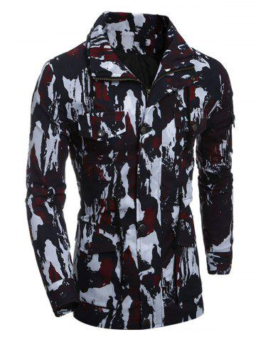 Unique Multi-Pocket Zip Up Camouflage Coat RED 2XL