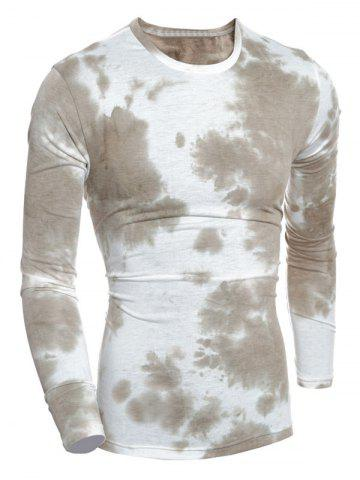 Crew Neck Tie-Dyed Muscle Long Sleeve T-Shirt - Grey Brown - M