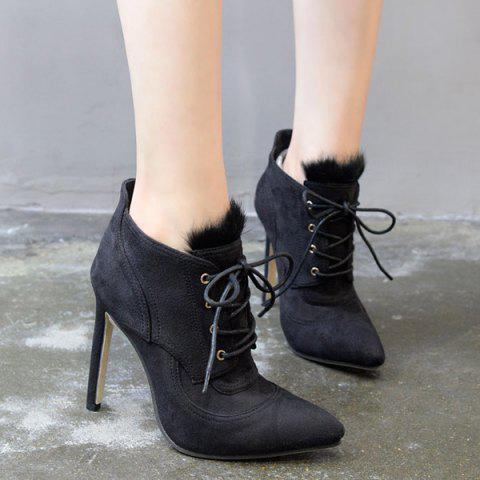 Cheap Pointed Toe Stiletto Heel Lace-Up Ankle Boots