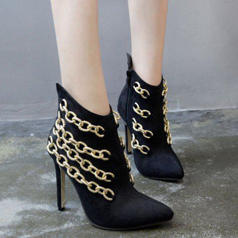 Outfit Pointed Toe Chains Stiletto Heel Boots