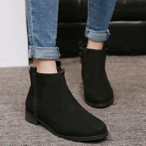 Unique Side Zip Suede Flat Ankle Boots