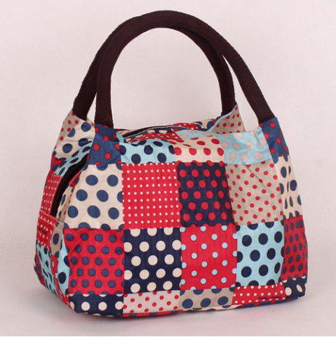 Affordable Plaid Pattern Polka Dot Color Block Tote Bag