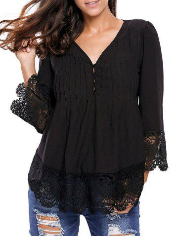 Latest Lacework Splicing Single-Breasted Blouse BLACK L
