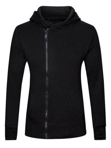 Chic Gloves Design Side Zip Up Long Sleeve Hoodie BLACK 2XL