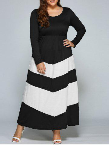 Store Color Blocked Zigzag Maxi Long Sleeve Dress