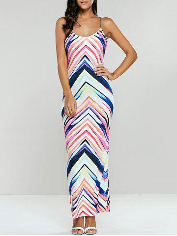 Maxi Printed Striped Lace Up Dress - COLORMIX S