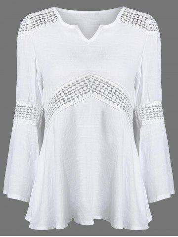 Store Lace Splicing V Neck Tunic Blouse WHITE XL