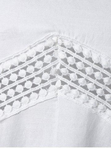 Outfits Lace Splicing V Neck Tunic Blouse - L WHITE Mobile