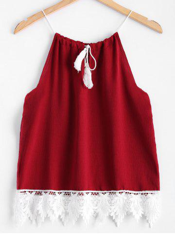 New Lace Splicing Drawstring Tank Top RED M