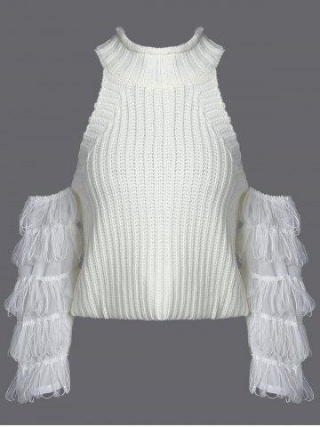 Cheap Ribbed Fringe Sleeve Cold Shoulder Knitwear