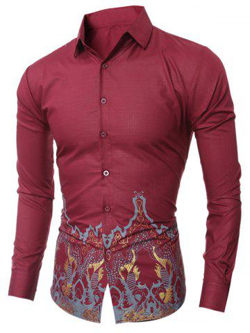 Discount Slim-Fit Vintage Printed Shirt WINE RED 2XL