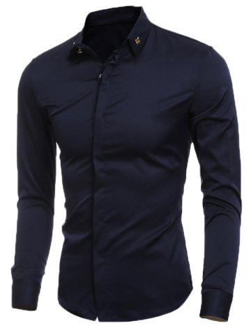 Affordable Slim-Fit Metal Embellished Formal Tuxedo Shirt