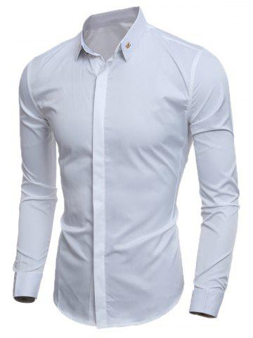 Slim-Fit Metal Embellished Formal Tuxedo Shirt - White - M