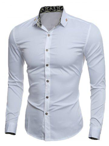 Slim Long Sleeve Metal Embellished Shirt - WHITE 2XL