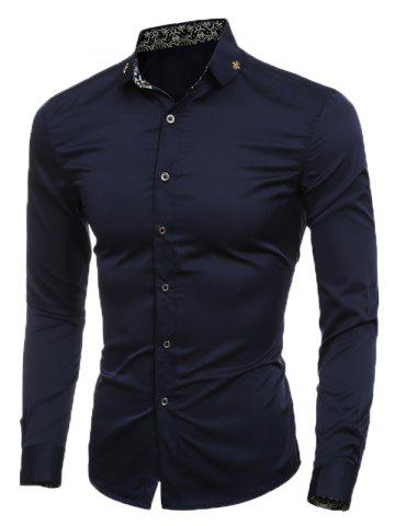 Slim Long Sleeve Metal Embellished Shirt - Cadetblue - M