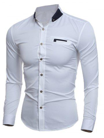 Best Contrast Button-Down Collar Slim Shirt