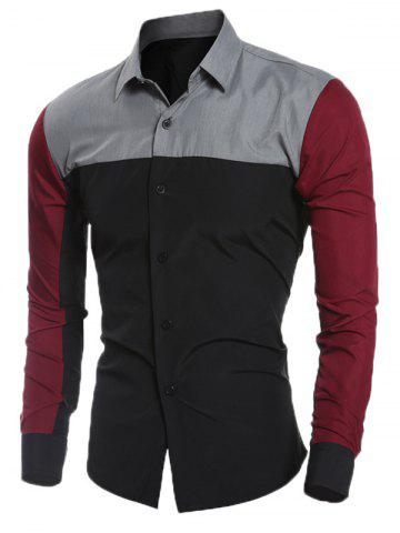 Outfit Slim Long Sleeve Spliced Shirt