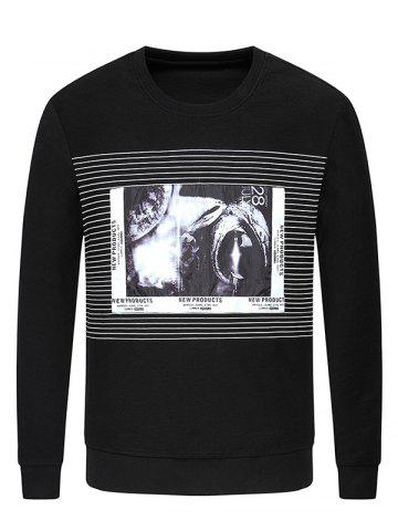 Cheap Crew Neck Striped Graphic Print Sweatshirt