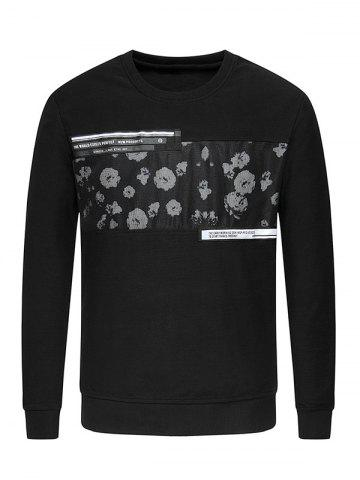 Unique Crew Neck Flower Print Spliced Sweatshirt