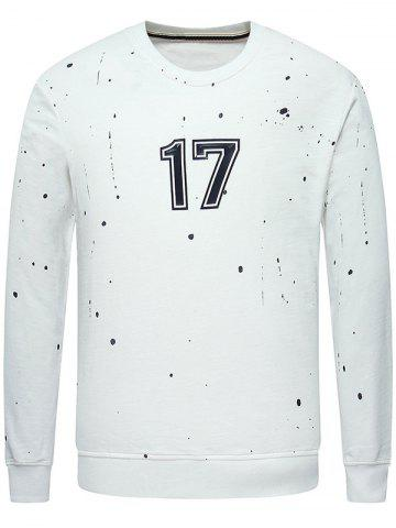 Shop Crew Neck Paint Splatter 17 Printed Sweatshirt WHITE 2XL