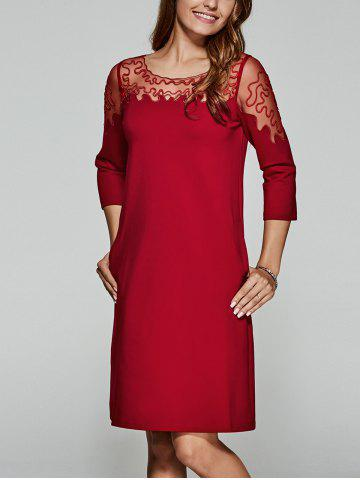 Sale Laciness Patchwork See-Through Dress