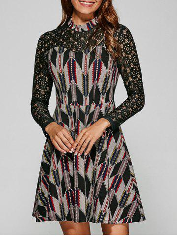 Lace Patchwork Geometric Print Dress