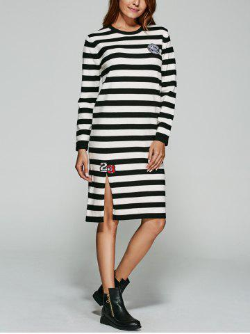 Buy Slit Striped Print Knitted Dress
