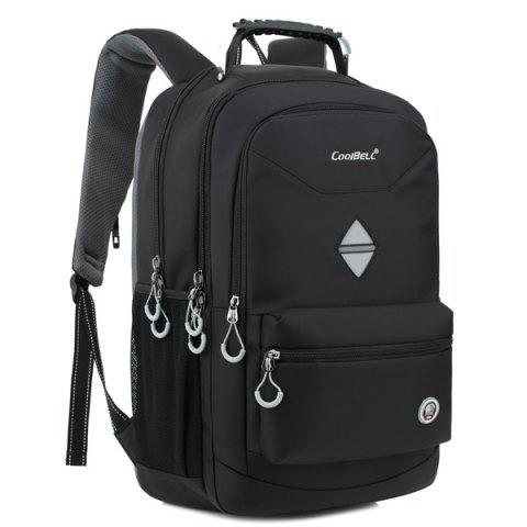 Store Zippers Geometric Pattern Nylon Backpack - BLACK  Mobile