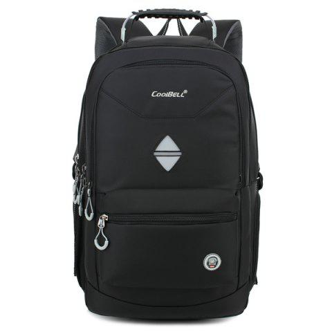New Zippers Geometric Pattern Nylon Backpack - BLACK  Mobile
