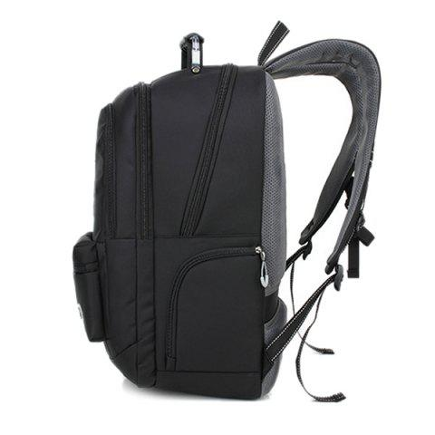 Shop Zippers Geometric Pattern Nylon Backpack - BLACK  Mobile