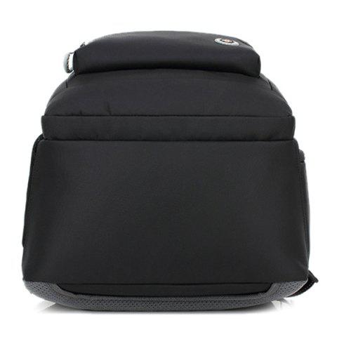 Unique Zippers Geometric Pattern Nylon Backpack - BLACK  Mobile