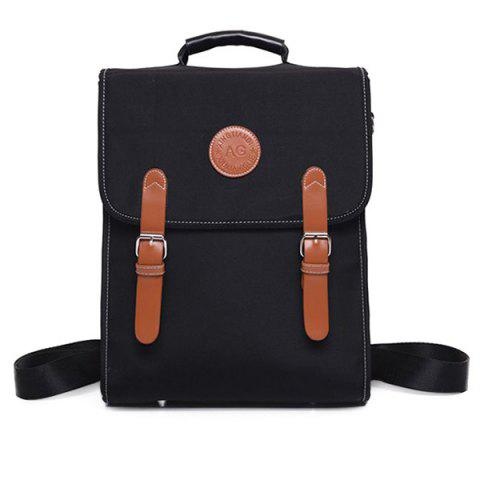 Chic Color Spliced Double Buckle Nylon Backpack
